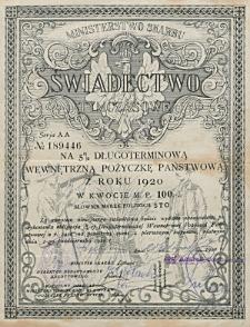 Świadectwo Tymczasowe na 5% Długoterminową Wewnętrzną Pożyczkę Państwową z r. 1920 w kwocie M.P. 100