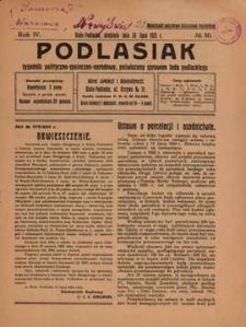 Podlasiak : tygodnik polityczno-społeczno-narodowy, poświęcony sprawom ludu podlaskiego R. 4 (1925) nr 30